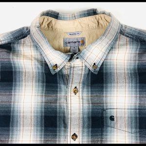 Carhartt Men's Plaid button shirt XL 100% cotton